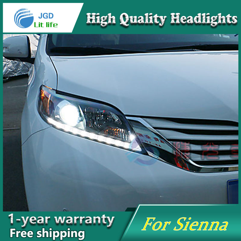 Car Styling Head Lamp case for Toyota Sienna Headlights LED Headlight DRL Lens Double Beam Bi-Xenon HID car styling head lamp case for skoda superb 2009 2013 headlights led headlight drl lens double beam bi xenon hid accessories