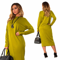 2018 Autumn Winter Plus Size 5X 6XL Women Loose Dresses Casual Clothes Long Sleeve O Neck Fashion Party Lady Large Size Vestidos