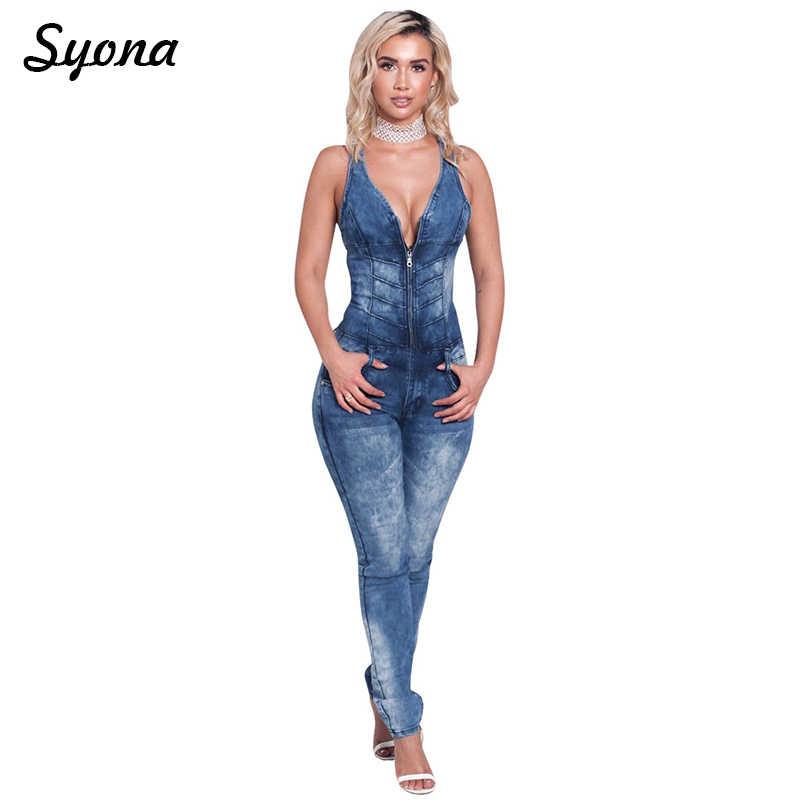 Повседневное сексуальный комбинезон джинсовый комбинезон женские джинсовые комбинезоны без рукавов на молнии спереди длинные брюки узкие Высокая талия летние женские