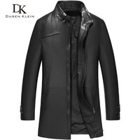 Long Black Trench Coat Men Luxury Genuine Leather High Quality Mens Sheepskin Autumn Outdoor Leather Jacket