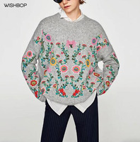 WISHBOP NEW 2017 Autumn Winter Fashion Grey Oversized Knitted Sweaters With Flowers Embroidered Drop Shoulder Jersey
