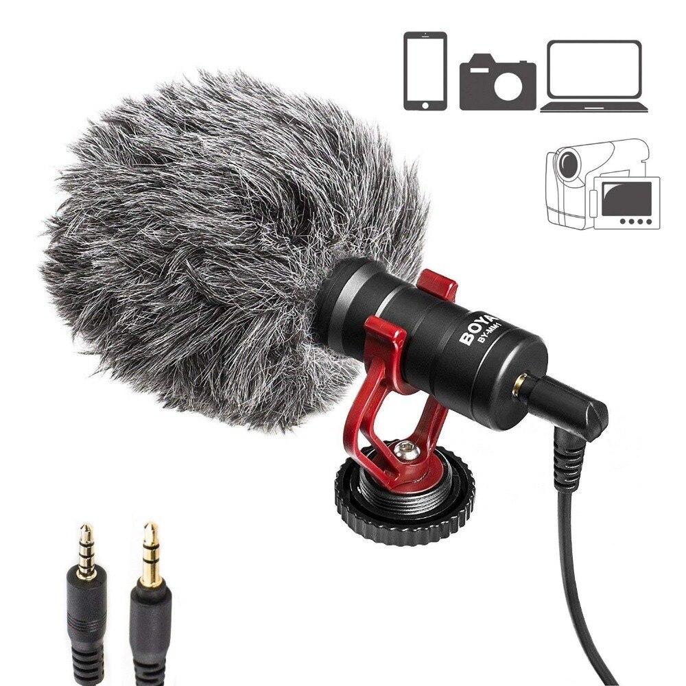Microphone universel d'enregistrement cardioïde 3.5mm pour iPhone, Smartphone Android, Canon, Nikon, appareils photo reflex numériques, caméscopes