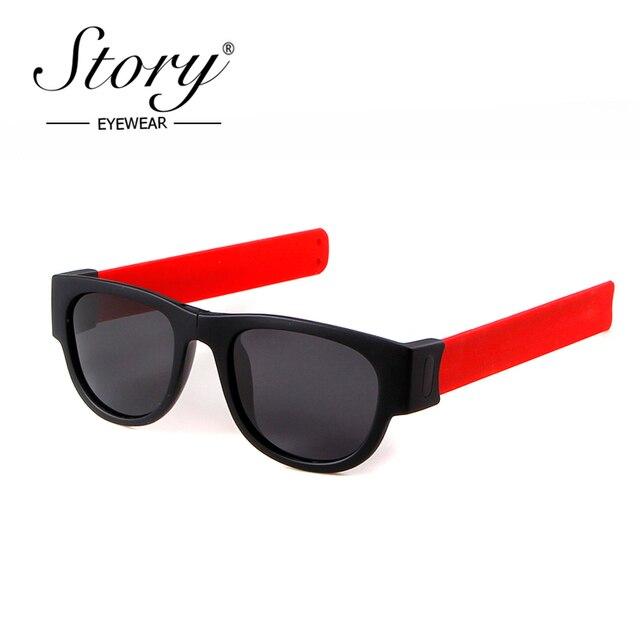 dc94e960f1 STORY 2018 Polarized Sunglasses Men Women Unisex UV400 Mirrored Lens  Portable Slap Folding Frame Sun Glasses Sport Eyewear