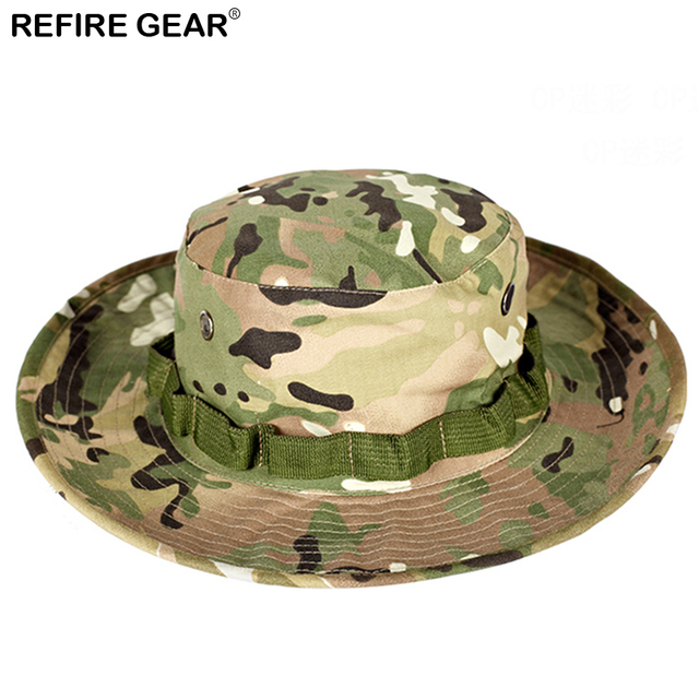 96abd681691 Summer Outdoor Camouflage Bucket Hat Men Camo Wide-brim Fishing Boonie Hat  Hiking Breathable Camping Hunting Airsoft Cap Hat