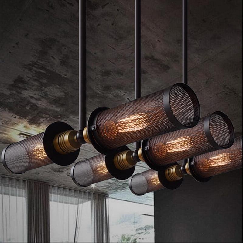 Nordique rétro RH industriel Double côté suspension lampe en métal Net salle à manger barre lumineuse luminaires livraison gratuite