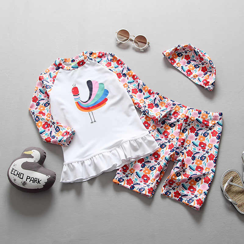 9a8a28484815 Children Swimsuit Girls Two Pieces Long Sleeve Sunscreen Swimwear Fast Dry  Surfing Suit Peacock Floral Print