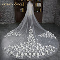Honey Qiao 2017 Bridal Veils White Long One Layer Cathedral Wedding Veil With Handmade Flower Luxury Wedding Accessories