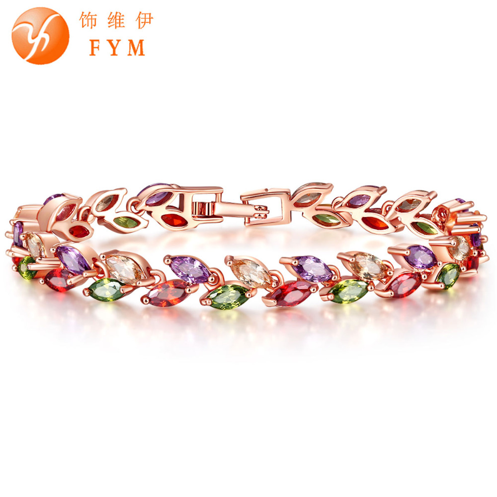 fym brand new luxury gold color plant bracelet with colorful aaa zircon crystal bracelet femme. Black Bedroom Furniture Sets. Home Design Ideas