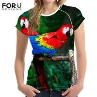 FORUDESIGNS Parrot Printed Female T Shirt Green Cute Tee Brand T Shirts Harajuku Style Soft Slim