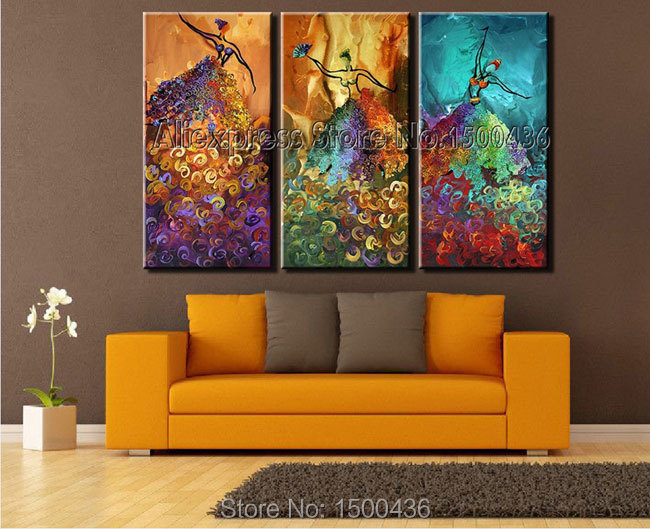 3pieces Modern Abstract Huge Wall Art Oil Painting On: Hand Painted Sexy Dressed Woman Abstract Oil Painting