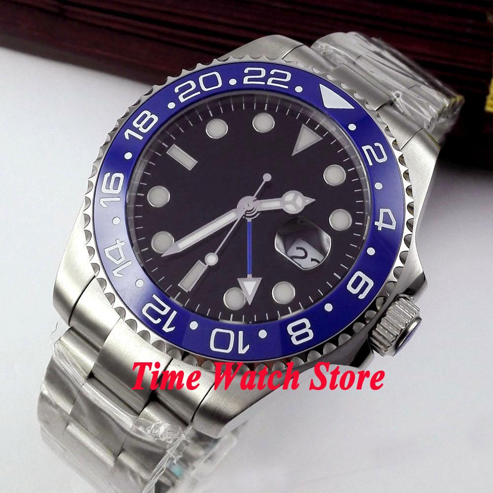 Bliger 43mm black Sterile dial Luminous blue Ceramic Bezel sapphire glass Automatic movement Men's watch 348