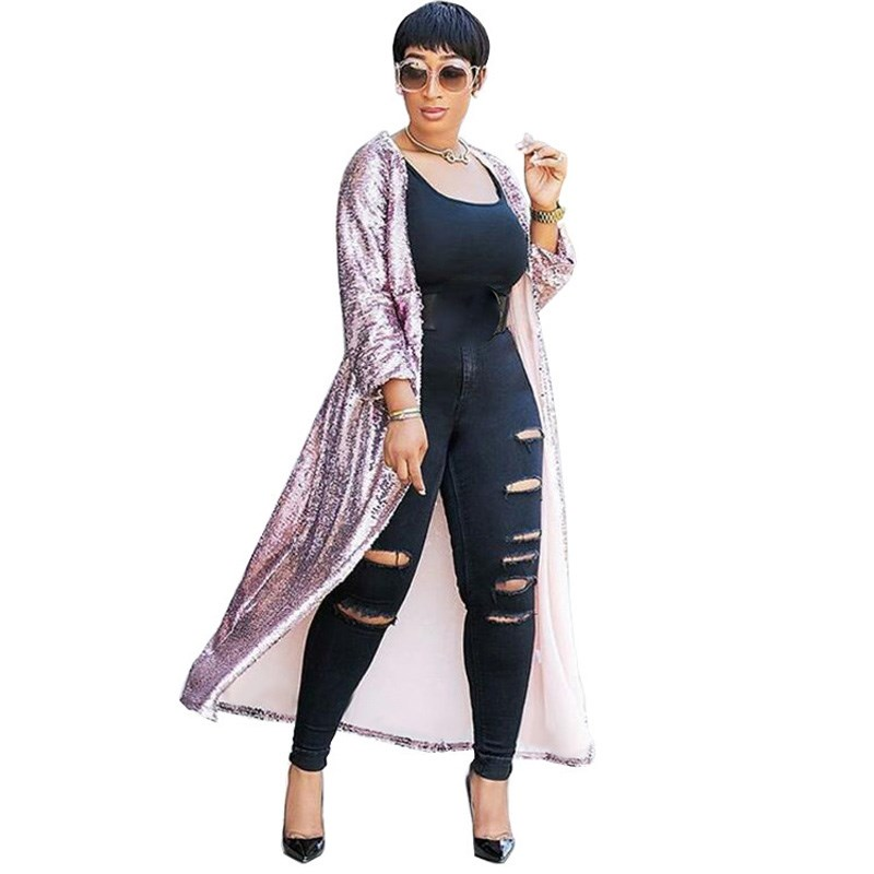 0d4f1b73 US $18.99 20% OFF|Women Autumn Sparkly Gold Long Cardigan Coat Open Front  Sequin Cardigan Party Glitter Long Trench Outwear-in Trench from Women's ...