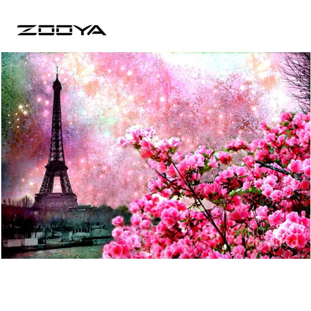 ZOOYA Diamantmålning Naturligt Eiffeltorn Diamantbroderier Blommor - Konst, hantverk och sömnad