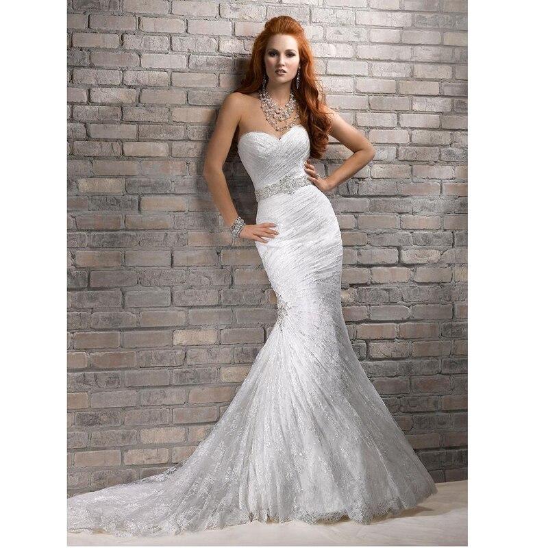 Cheap White Ivory Wedding Dresses Mermaid Lace Appliques: New Sweetheart Elegant Vestido De Casamento Ivory /White
