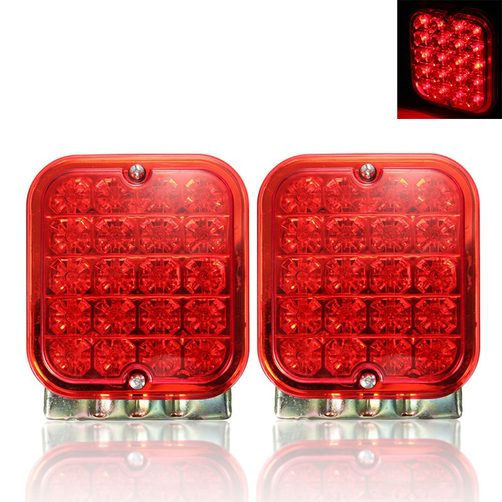 1 Pair 20 LEDs Car Rear Tail Light Stop Brake Lamps Warning Light for Truck Trailer 12V Red 12v revolving warning light for vehicles red