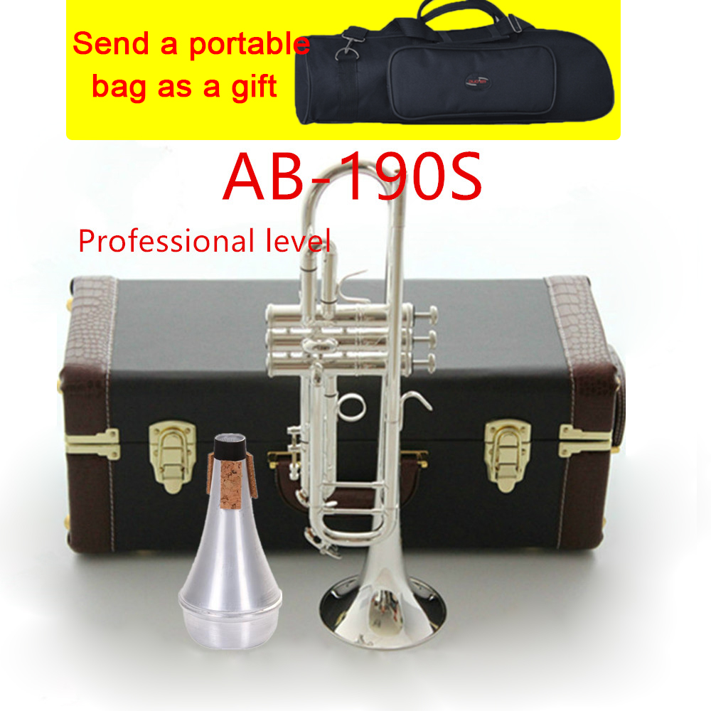American Original Bach AB190S Trumpet Silver Plated Gold Bach Trumpete Professional Musical Instruments with Case free