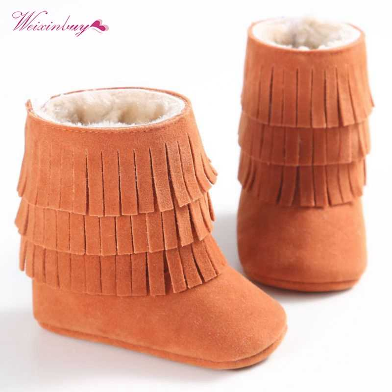 Baby Girls Boys Autumn Winter Warm Moccasin Boots Newborn  Fringe Shoes Infant Toddler Kids Soft Soled Anti-slip Booties QF
