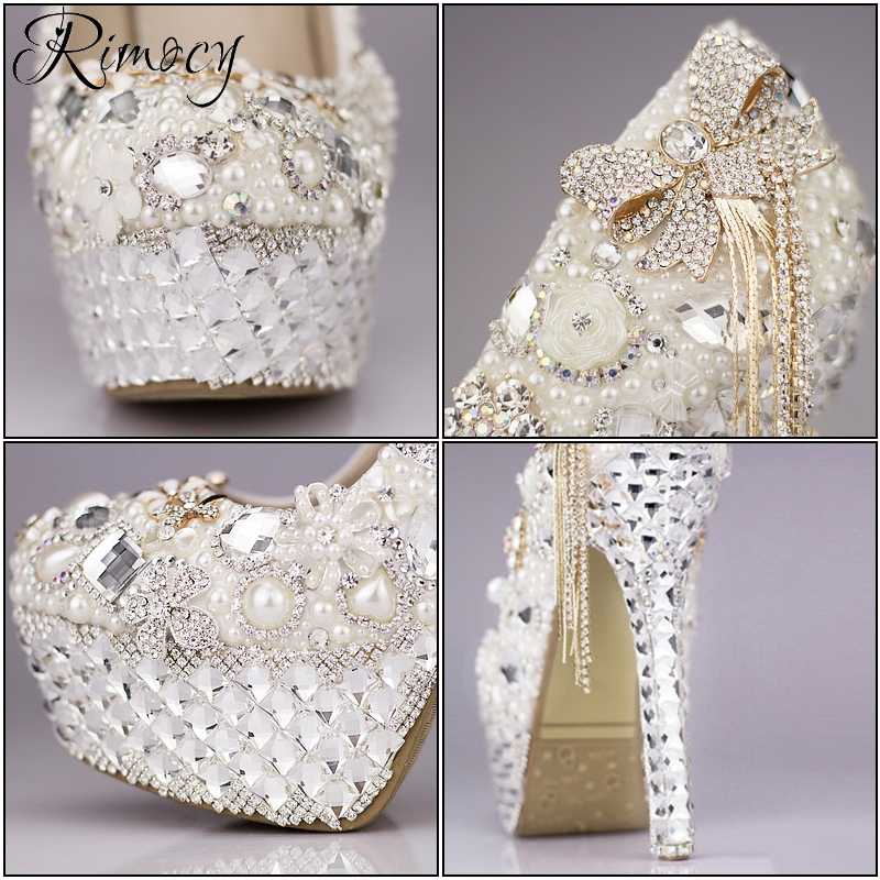 6e4b84b3e459 ... Rimocy custom crystal wedding shoes women white rhinestone and pearls  bowtie super high heels platform pumps ...