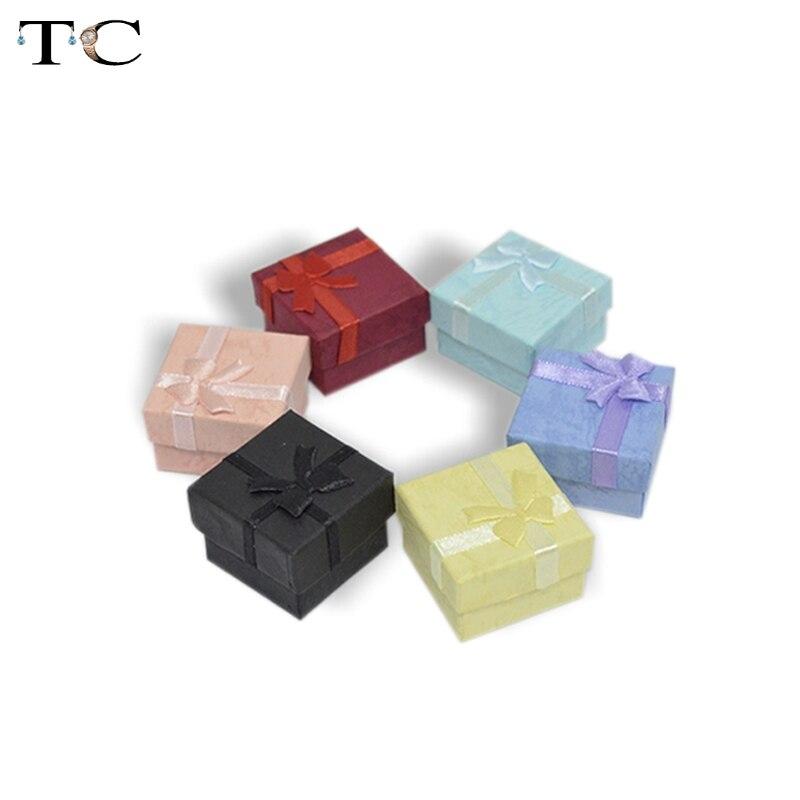 200 pcs/lot 4*4*3cm bijoux boucles d'oreilles anneau cadeau boîtes couleur mixte carré Carton cadeau emballage arc Case