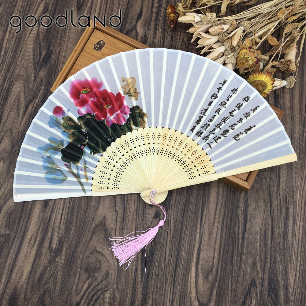 Transporti Falas Cilësia e Lartë 1 PC Style Kineze 100% Silk Bamboo Poem Painting Oriental Folding Hand Dance Fan Dance Party