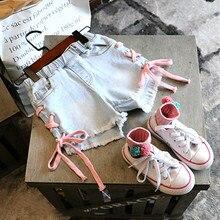 цена на Toddler Shorts New Fashion Summer Children Clothes Girls Denim Short Pants Side Contrast Cross Strap Kids Jeans Shorts For 2-8Y