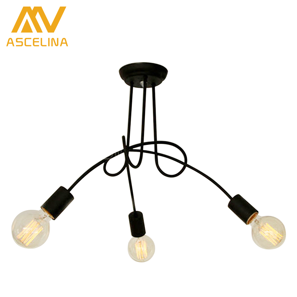 ФОТО Hot Sale Fashion Nordic American restaurant Design 3/5 heads Ceiling Lights for Home Edison Ceiling Light Iron Lighting