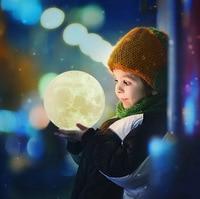 EICEO Luz de luna LED recargable lámpara de Luna 3D 3 colores o RGB cambiar Interruptor táctil luz de noche con soporte para dormitorio Caja de Regalos Luces de noche LED     -
