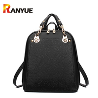 Fashion Printing Design PU Leather Backpack Women School Bag For Teenager Girls Female Shoulder Bags Bookbag