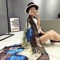 2016 Мода люксовый бренд шелковый шарф женщин осень зима Бандана шарфы Бабочка набивные платки леди Пашмины écharpe cachecol