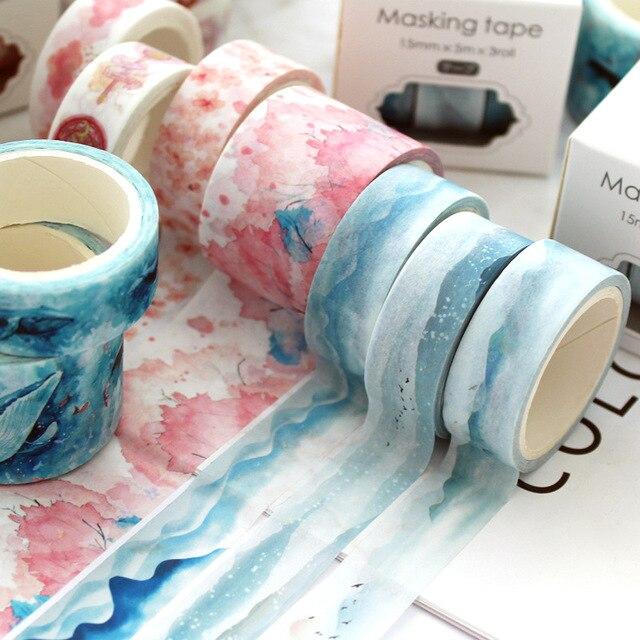 3 unids/set cinta de papel Kawaii decoración unicornio Sakura Washi cinta DIY pegatinas Scrapbooking diario bala diario suministros escolares