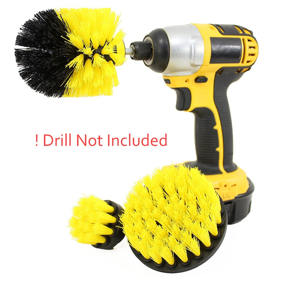 3pcs Drill Brush Power Scrubber Brush Clean for Bathroom Surfaces Tub Shower Tile Grout Cordless Power Scrub Drill Cleaning Set