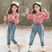 Kids Autumn Clothes Teenage Girls 2 Pcs Red Plaid Shirts Tops & Bow Mid Wasit Jeans Pants Suits Children Outfits Clothing Sets