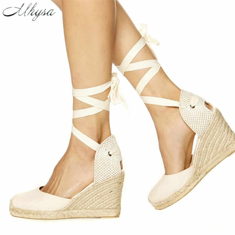 Mhysa 2019 Platform Wedges Sandals Cover Heel Hemp Gladiator Buckle Strap Mixed Colors Summer Shoes Woman Sandals Big Size T63