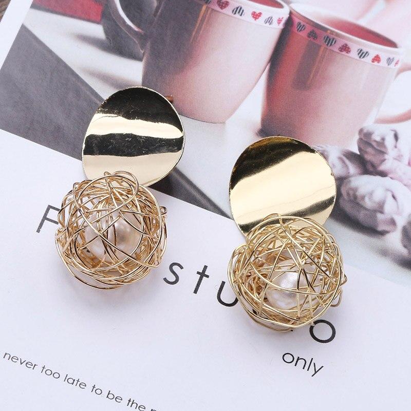 Es827 Retro Einfache Geometrische Ohrringe Mode Kreative Design Hohl Gold Draht Gewebt Ball Perle Ohrringe Für Frauen Schmuck Preisnachlass