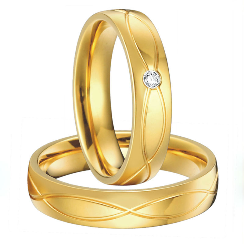 1 pair anillos de boda anel ouro gold color alliance