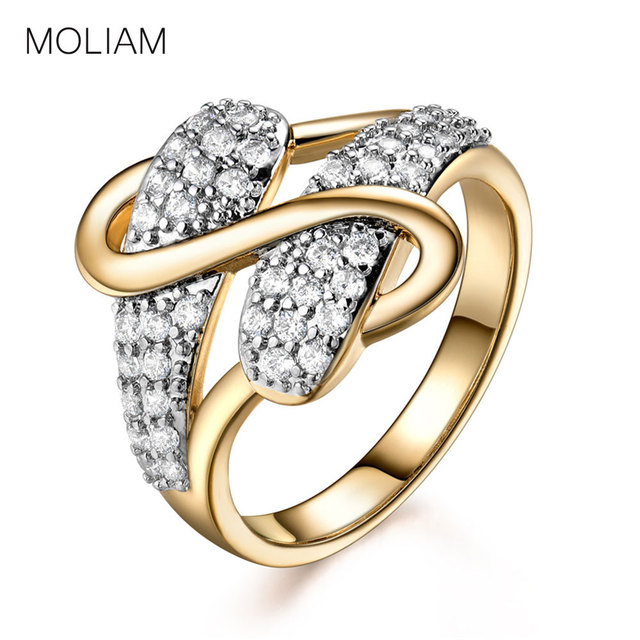 MOLIAM Vintage Unique S Design Women Rings 2017 New Fashion Gold-Color Cubic Zir