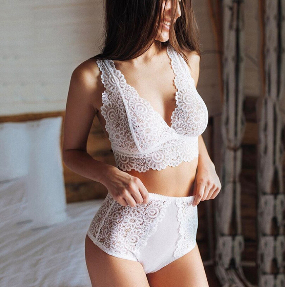 Plus Size Women Lace Bra Set Sexy Transparent Underwear Ladies Intimates Sexy Lingerie Female Erotic Sex Sets