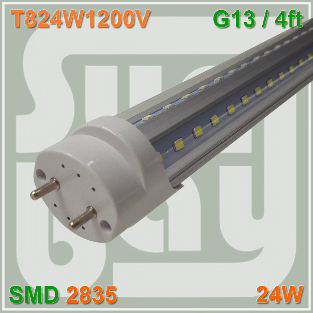 T8 V Shape Double Strip LED Tube Bulb Light Lamp 4FT 24W G13 Fluorescent Replace t8 led tube 1200mm light 18w120cm 4ft 1 2m g13 with holder fixture high power smd2835 fluorescent replacement 85 265v