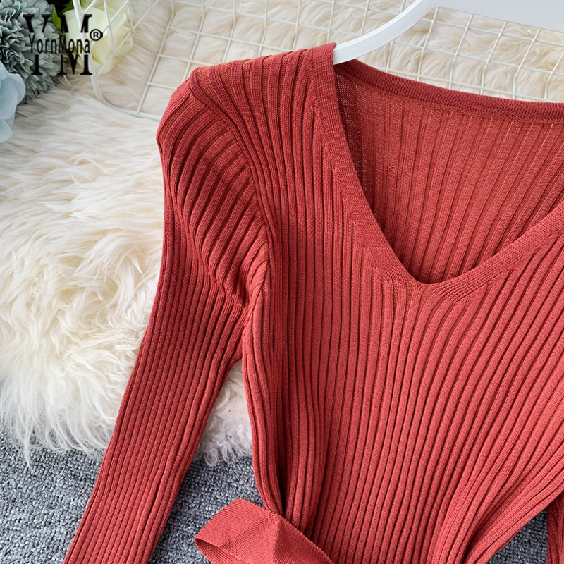 Image 2 - YornMona Elegant V Neck Split Midi Dress 2019 Autumn Winter Women Knitted Sweater Dress Button Long Sleeve Sashes Bodycon DressDresses   -