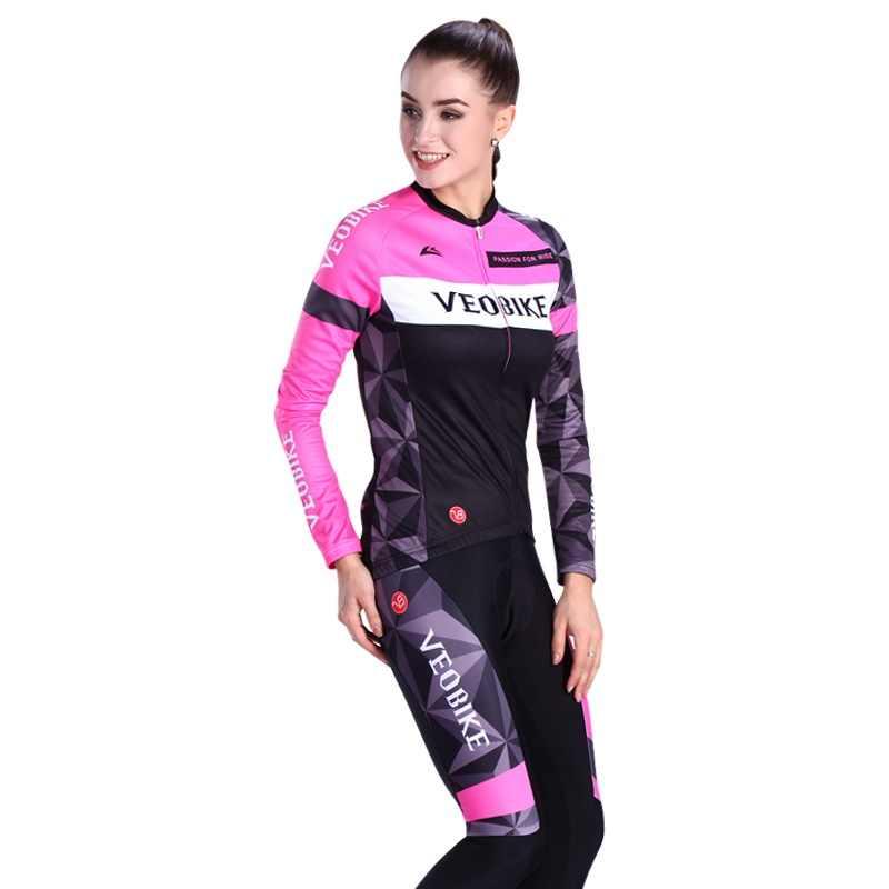 VEOBIKE 2020 Pro Team odzież rowerowa Ciclismo koszulka na rower zestaw kobiet Mountain odzież rowerowa Mtb nosić 5D Sport garsonka z długimi spodniami
