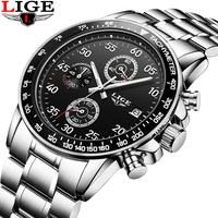 Relogio Masculino LIGE Mens Watches Top Brand Luxury Sport Quartz Watch Men Business Full Stainless Steel