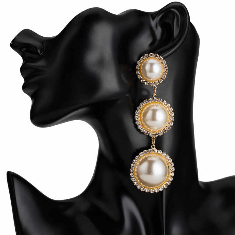 2019 Crystal Stone Party Drop Earring For Women Long Pearl Dangle Earrings pendientes za aretes pendientes de gota best lady za