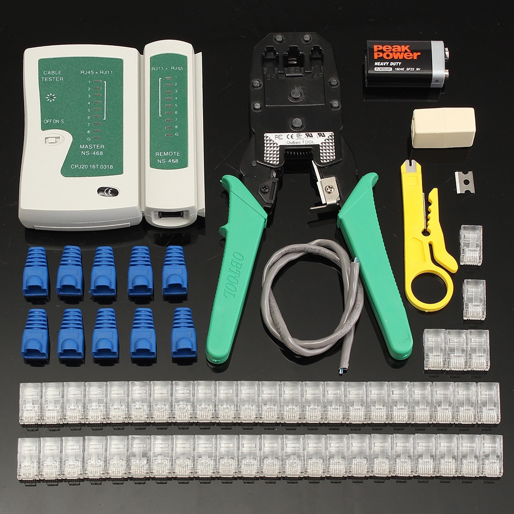 RJ45 Ethernet Lan Tester Kit Network Cable Tester Cable RJ45 Crimper Crimping Pliers Network Tools Wire Stripper Cable Tester