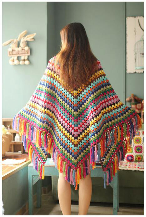 Handmade Crochet Flowers Throw 220x100cm Colorful Blanket Retro