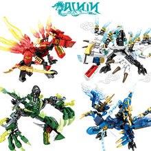 4 un. ninjago dragon knight bloco de construção, dinossauro compatível legoingninja tijolos, brinquedos para crianças, figuras, brinquedos educativos