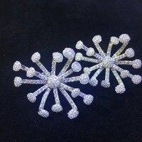 Гипербола 925 серебро с фианит серьги стержни цветок серьги Женская мода ювелирные изделия Бесплатная доставка