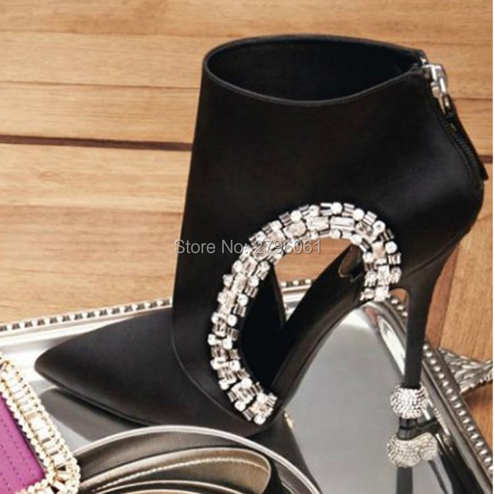 Rhinestone Ball Heels Pointy Toe Sexy Ankle Boots Black
