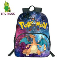506d0646486 Las mujeres bolsos Galaxy universo espacio Pokemon Charizard de impresión  mochila adolescentes niños bolsas de la