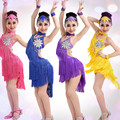 4 COLORS Children latin dance dress sexy sequins tassels dance costume for girls stage dancewear