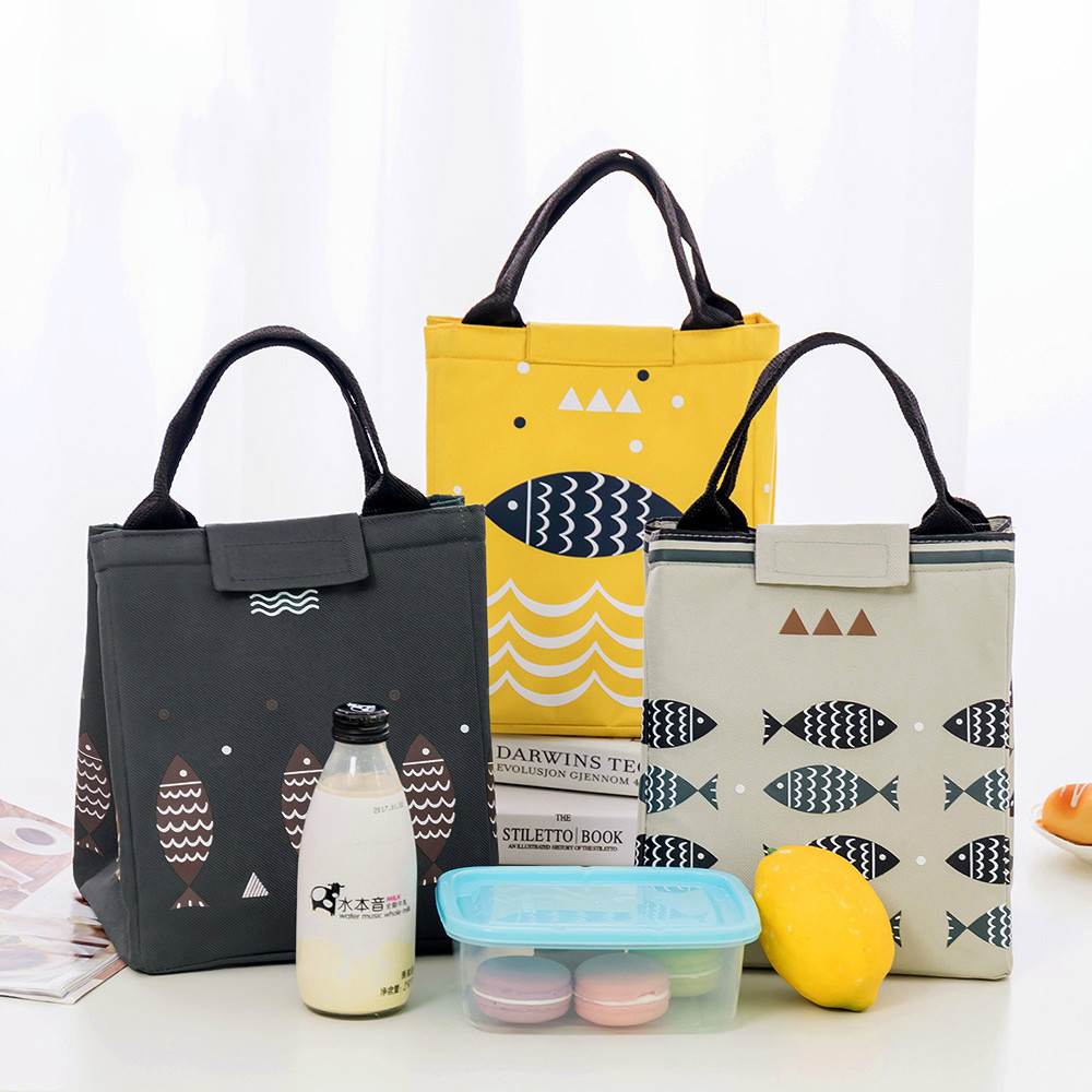 Miaoyi Waterproof Oxford Tote Lunch Bag Large Capacity Keep Cold Thermal Food Picnic Lunch Bags for Women Kid Men Fish Pattern
